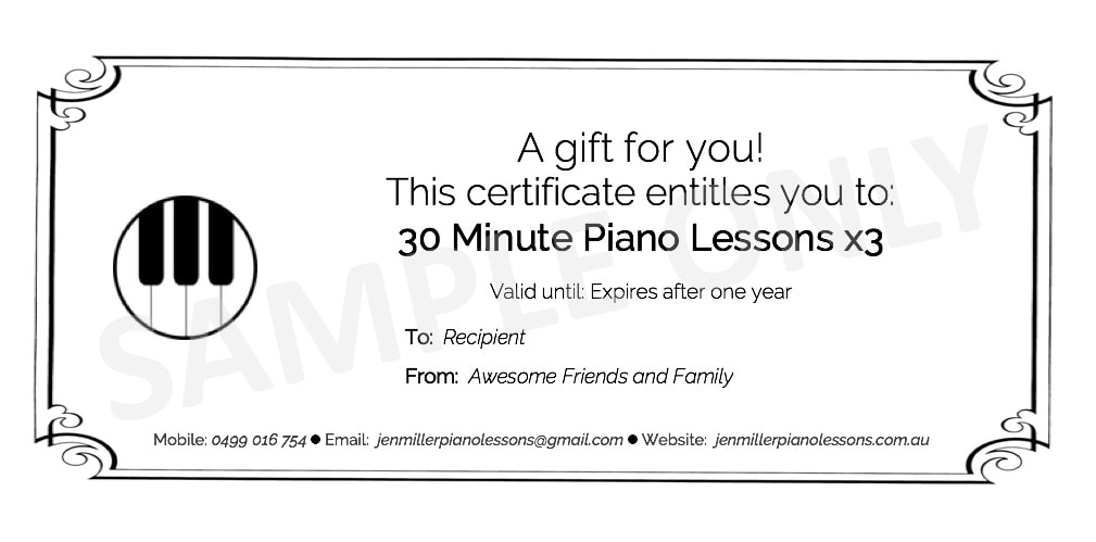 Gift Certificate Template For Piano Lessons Gallery