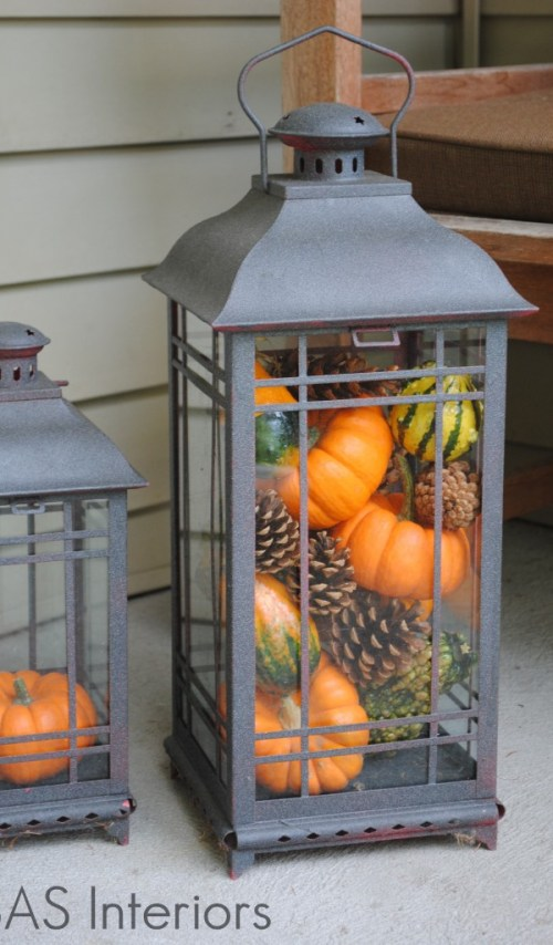Fall Pumpkin and Pinecone Filled Lanterns