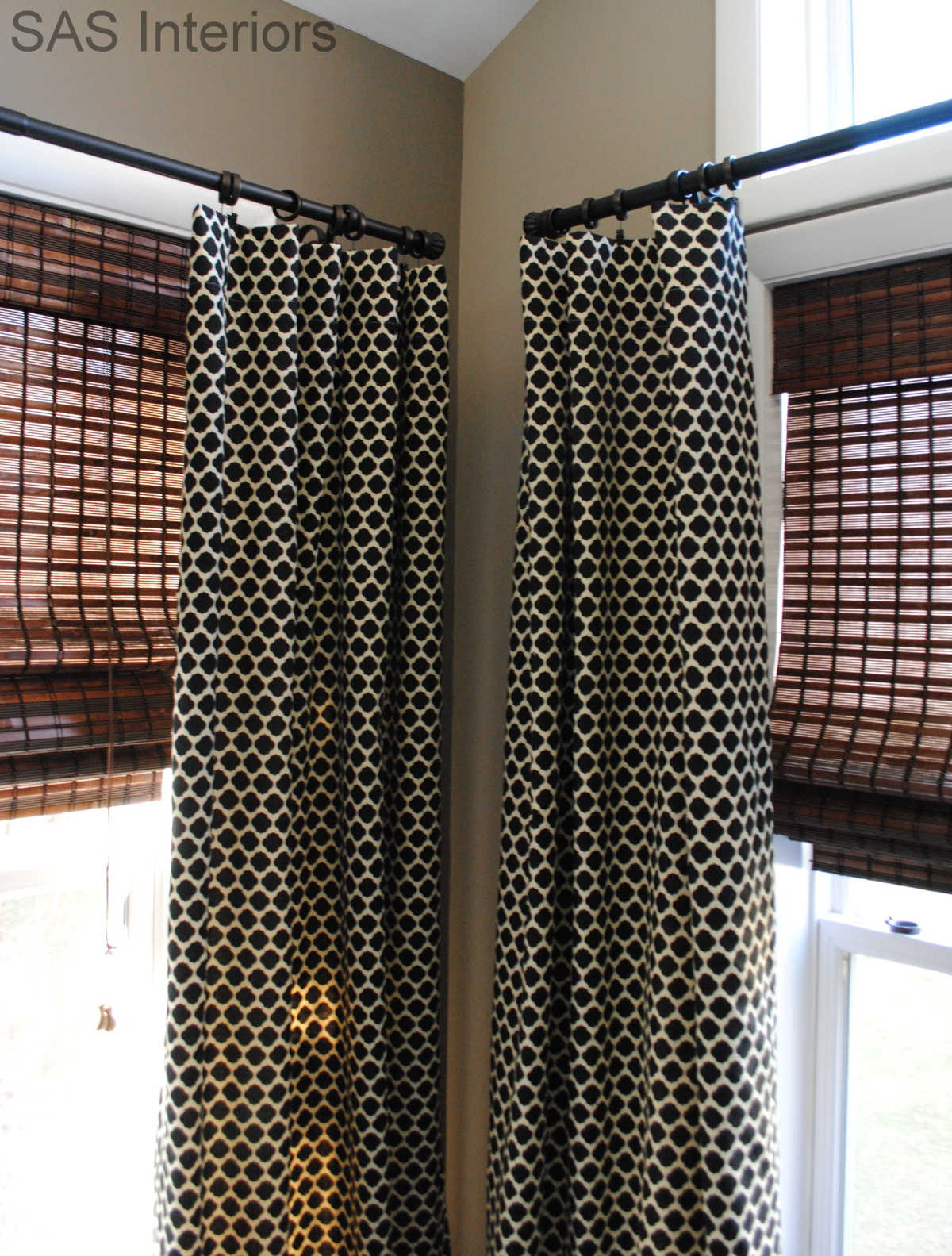 simple lined window drapery panels