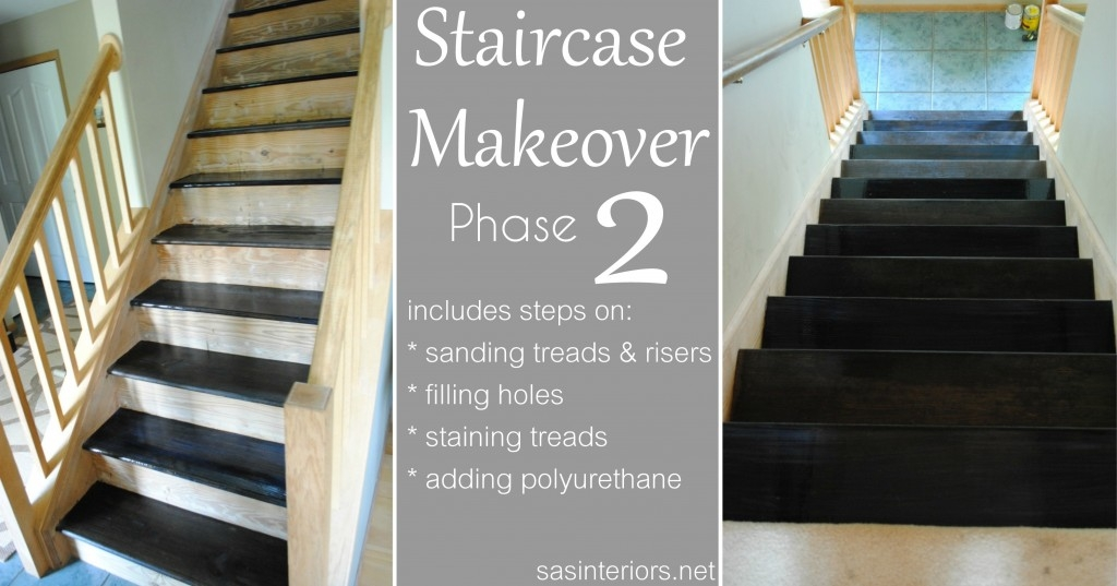 Staircase Makeover Filling Holes And Staining Treads Jenna | Painted And Stained Stairs | Easy Diy | Two Tone | Espresso Stained | Pinterest | Home