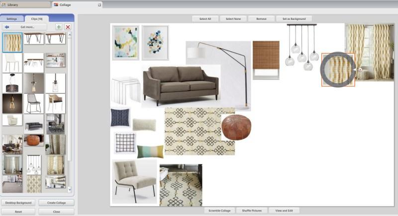 Interior design mood board software for Interior design board software
