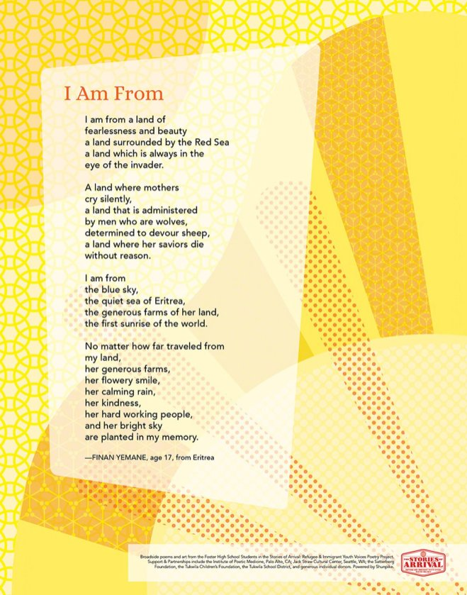 Stories of Arrival immigrant and refugee student poetry broadsides