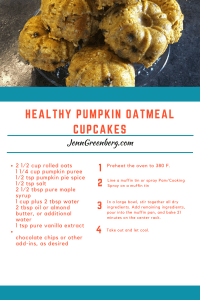 healthy pumpkin oatmeal cupcake recipe