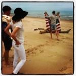 Beach Photoshoot with Flag