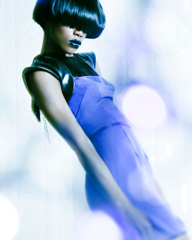 Futuristic Fashion Editorial with bowl haircut