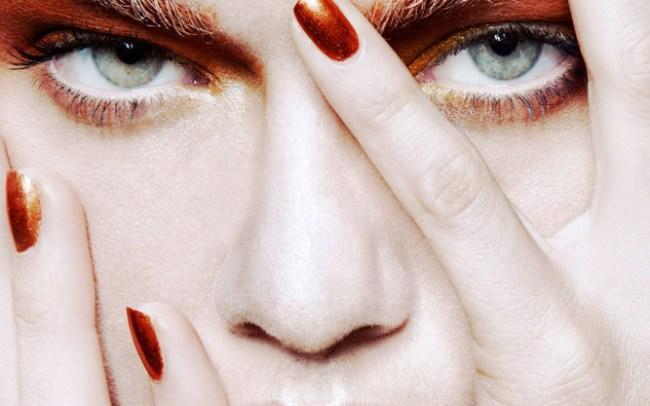 orange beauty make up and nails