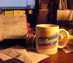 ShitBeGone mugs used to come with Shitbegone toilet paper.