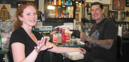 My best friend g. getting a tattoo at Oakland's Lucky 13