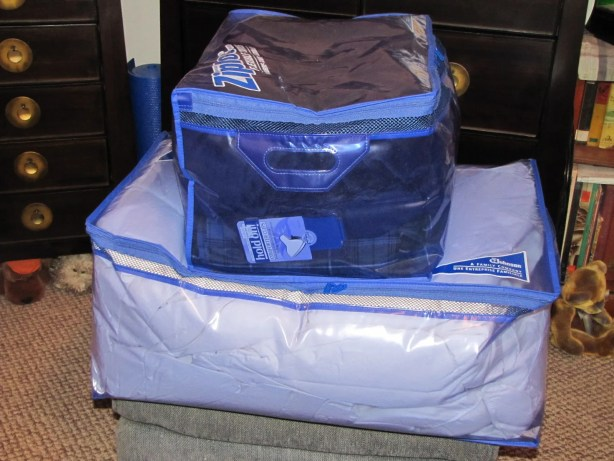 Ziploc flexible totes holding all the winter bed linens
