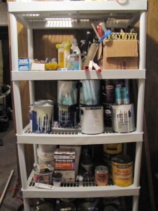 Workforce Shelving follow-up, showing slight sag from paint cans