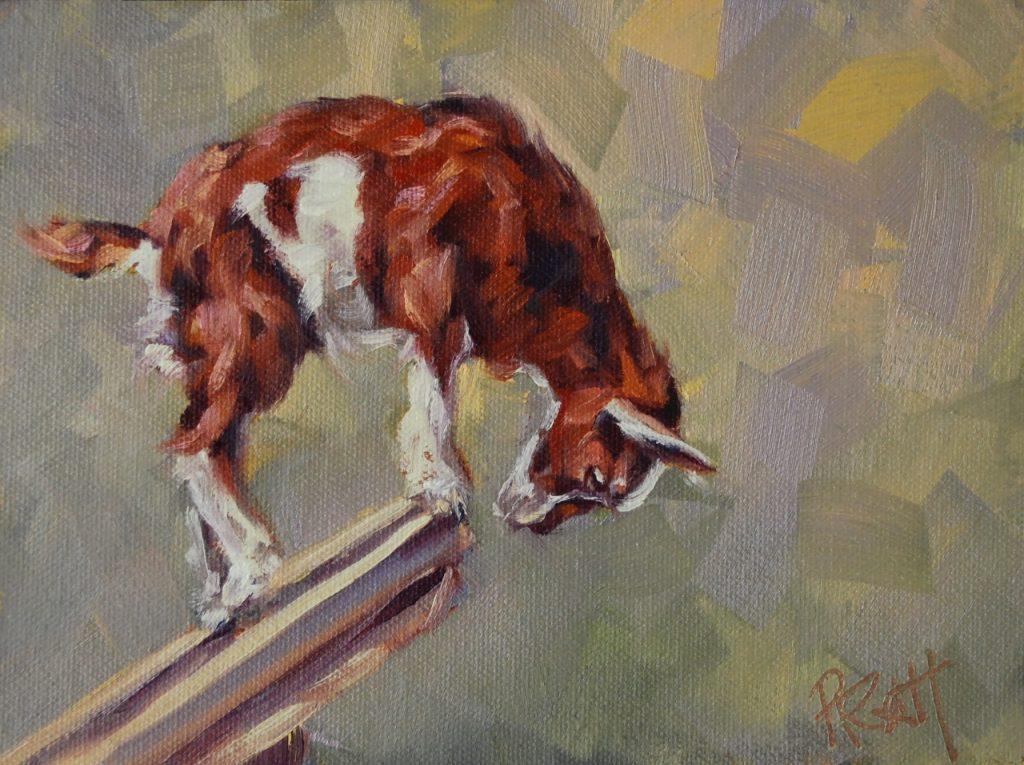Goat Decisions, 6x8, oil on Raymar Panel