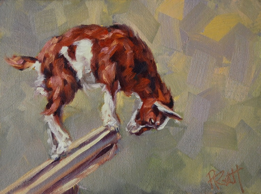 Goat Decisions, 6x8, oil on Raymar Panel