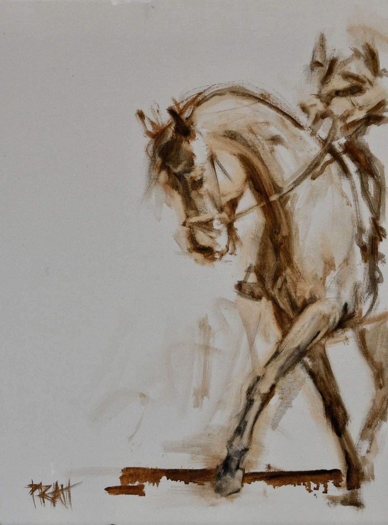 dressage, equine art, oil sketches, horses, Jennifer Pratt