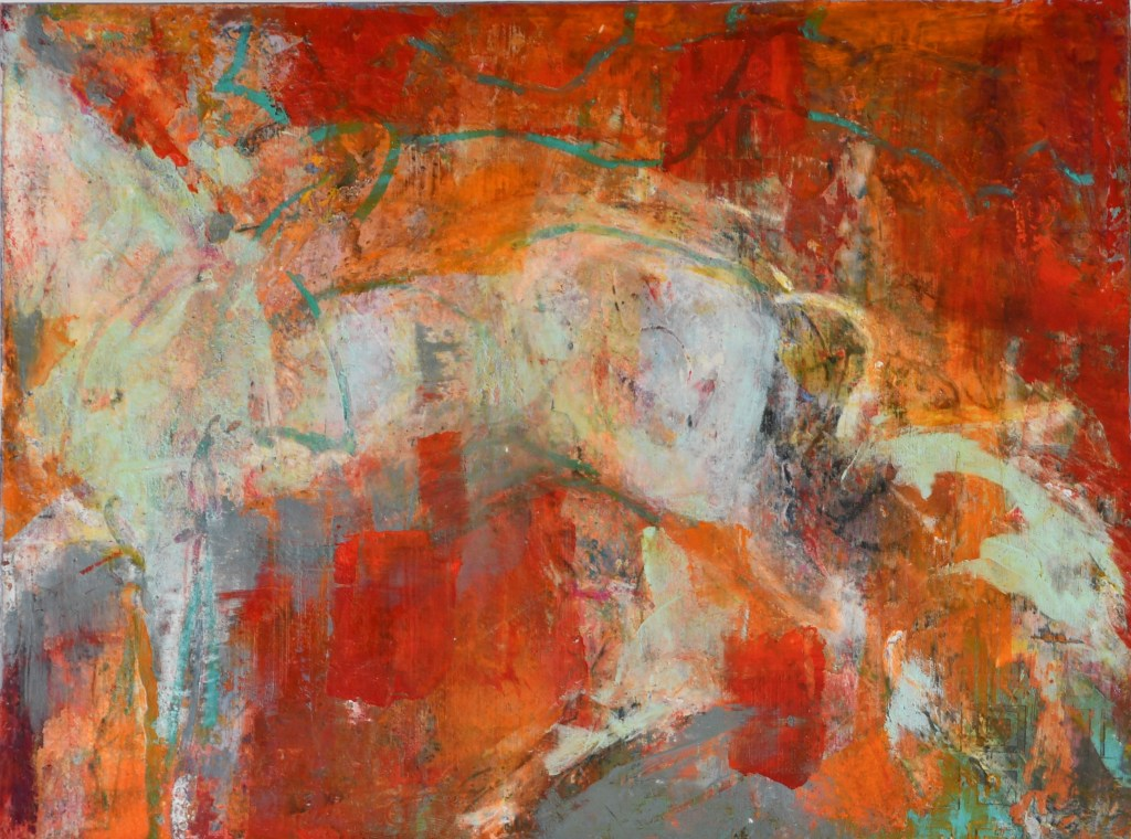 equine art, oil and cold wax horse