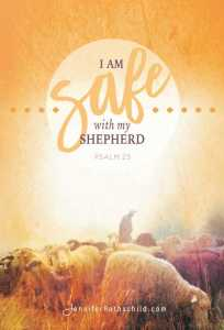 front side of safe psalm 23 scripture card