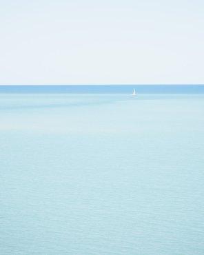 Sailing Lake Huron, Vertical - Minimalist Sailboat Photography Print