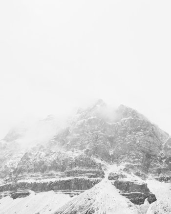 Veiled Peak, Vertical - Minimalist Mountain Print by Jennifer Squires