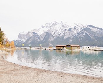 Lake Minnewanka Wharf - Picture of Banff Canada by Jennifer Squires