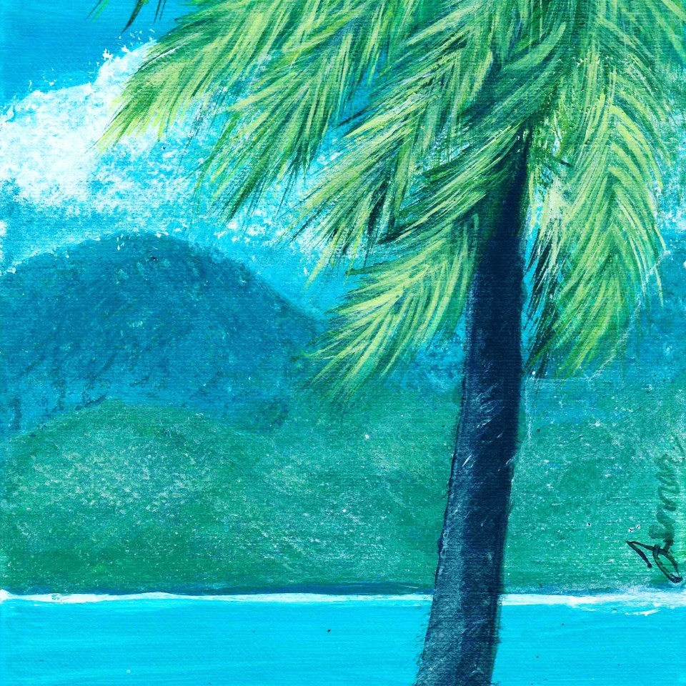 Palm tree by ocean, mountains, acrylic painting