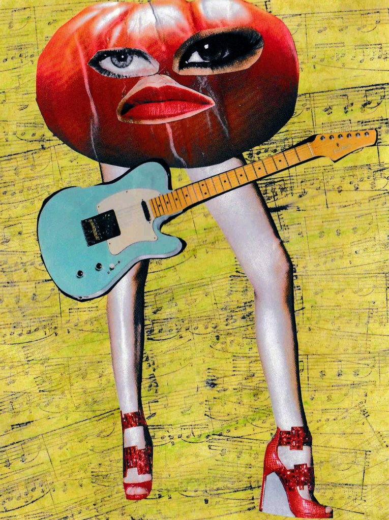 Lady Tomato, collage on music printed background.