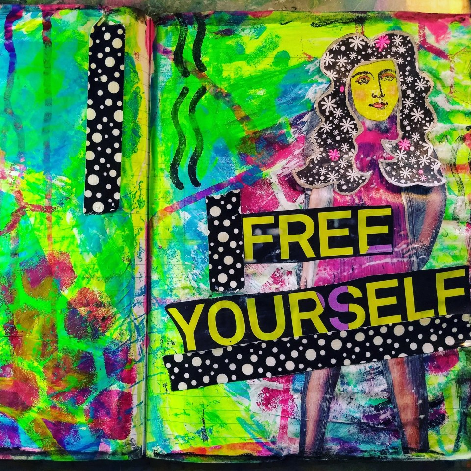 inspirational collage art journal pages. Art journaling for self care during times of uncertainty. Coronavirus, pandemic, mental health, mindfulness