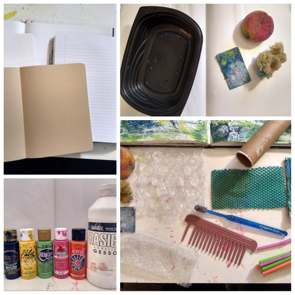 Materials needed for a journal page using recycled household objects.