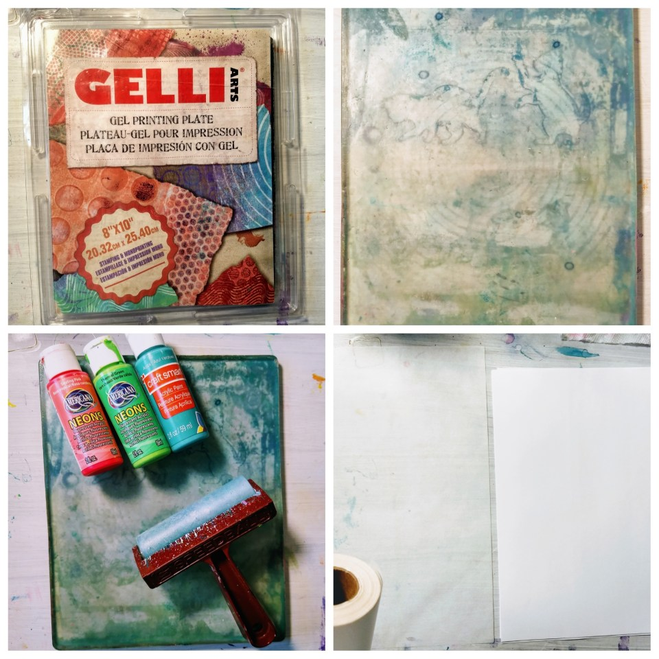 4 photos in grid, showing supplies needed for cardmaking with gel prints and stamps. Gel press, brayer, acrylic paints, paper.