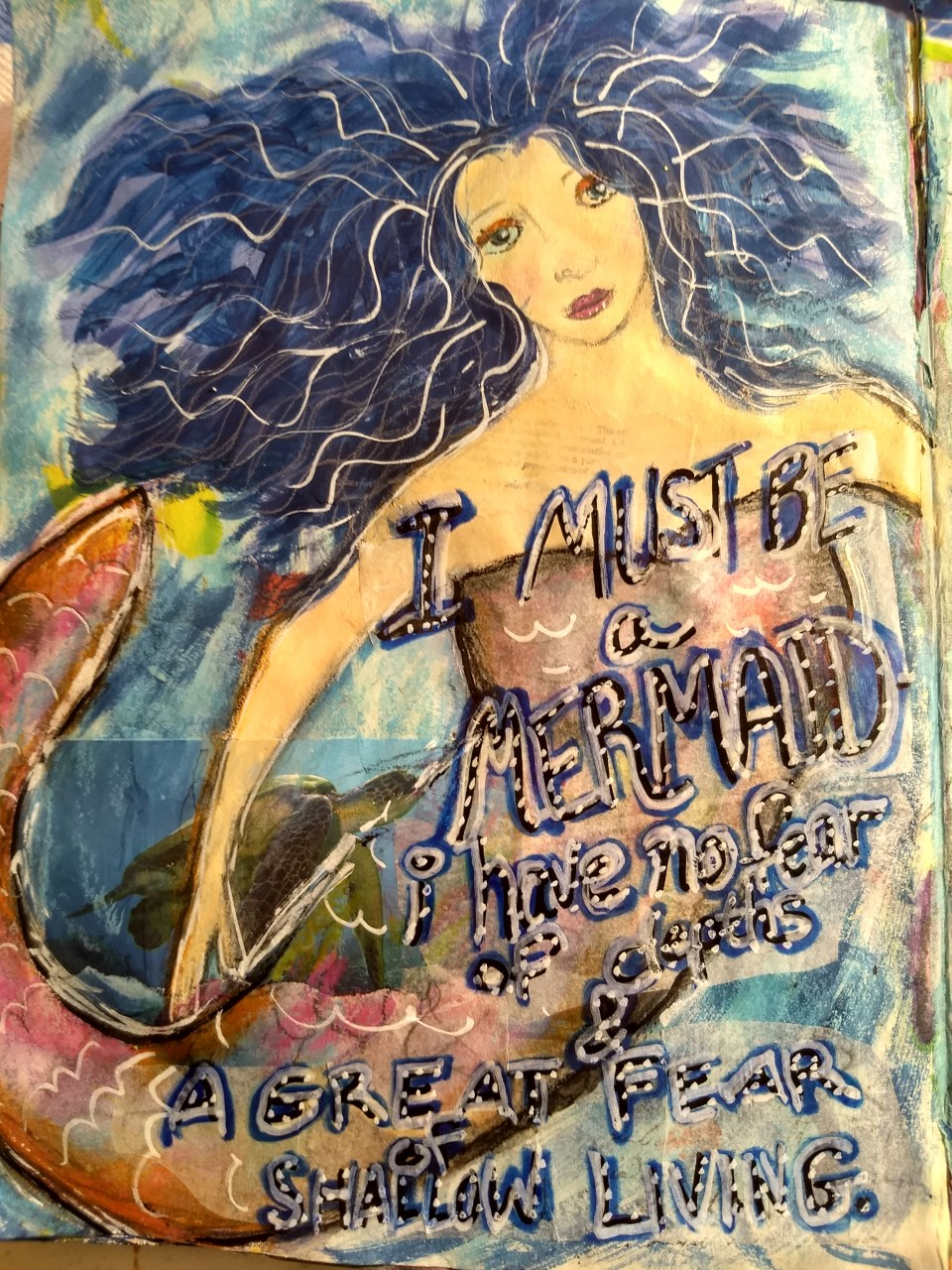 I Must Be a Mermaid art journal page