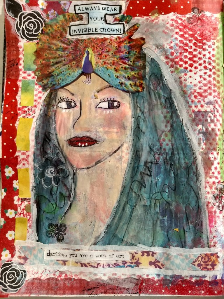 Wear Your Invisible Crown, art journal page, mixed media, face drawing from magazine tracing, stencils, collage