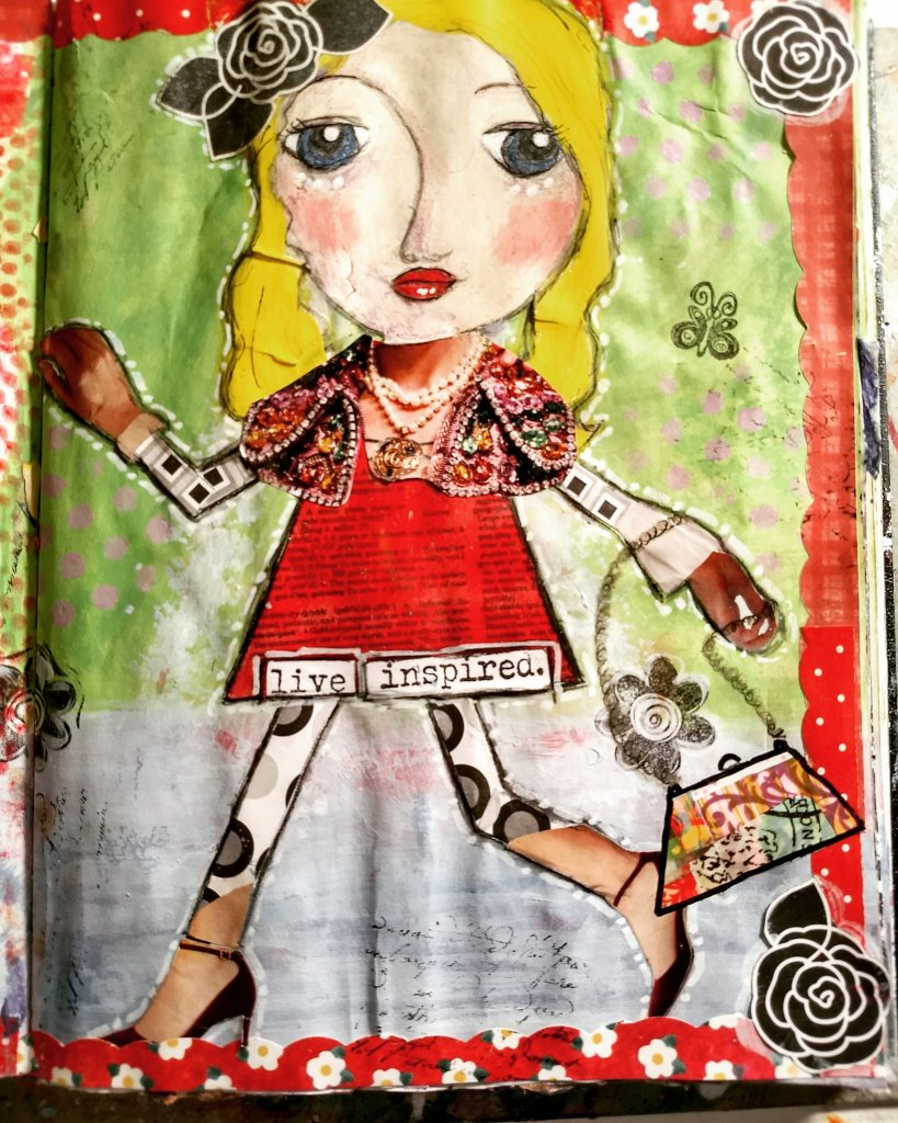live inspired art journal page. collage whimsical collage girl, mixed media