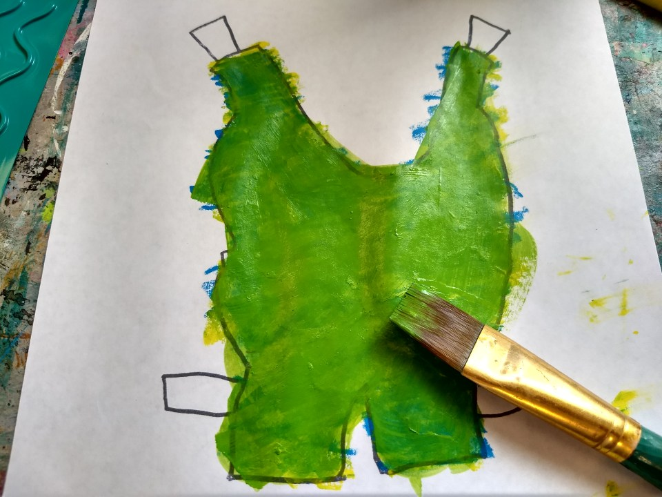 Toads Suit painted green. Frog and Toad are Friends, A Swim. Story time Craft.