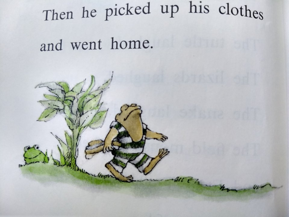 Toad in bathing suit, walking home. Frog and Toad are Friends, A Swim. Story Time Craft.