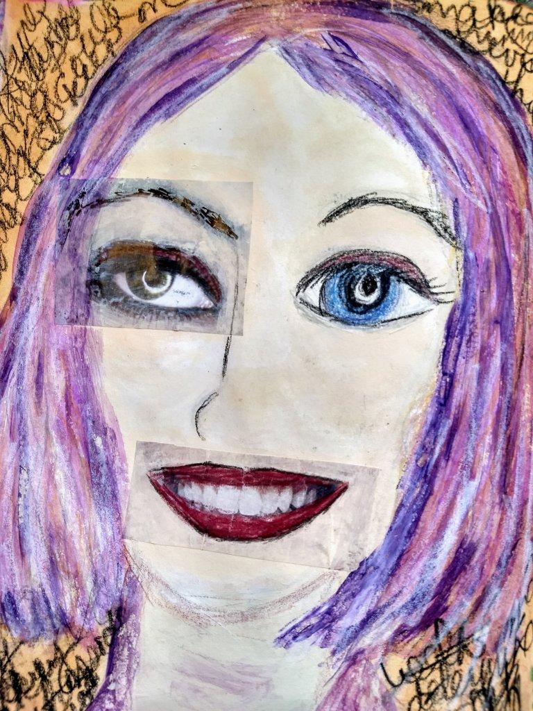 self-portrait (ish), purple hair, collage eye, mouth