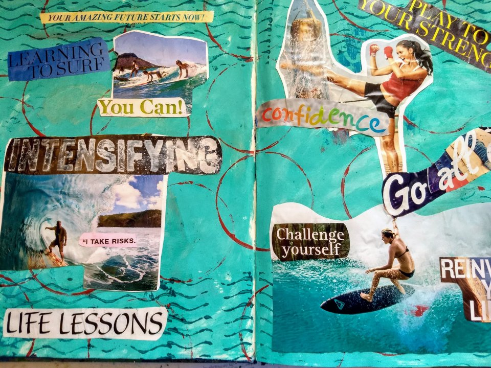 Inspirational collage, surfing, boxing, on a painted background, Art Journaling as Self Care