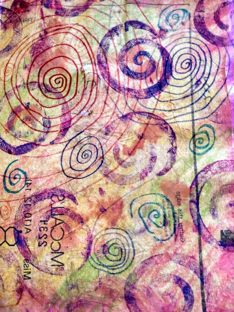 Overlapping hand drawn spirals, stamped spirals. Art journaling as self care in uncertain times. pandemic, mental health, mindfulness, calm.
