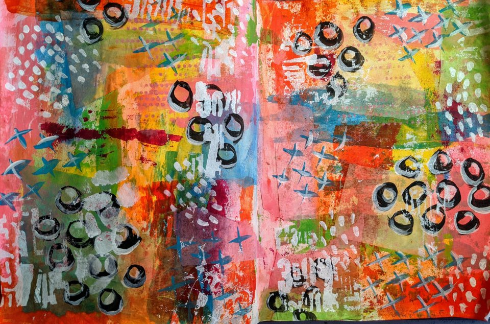 art journal background, bright paint colors, bleeding tissue paper, mark making, abstract collage