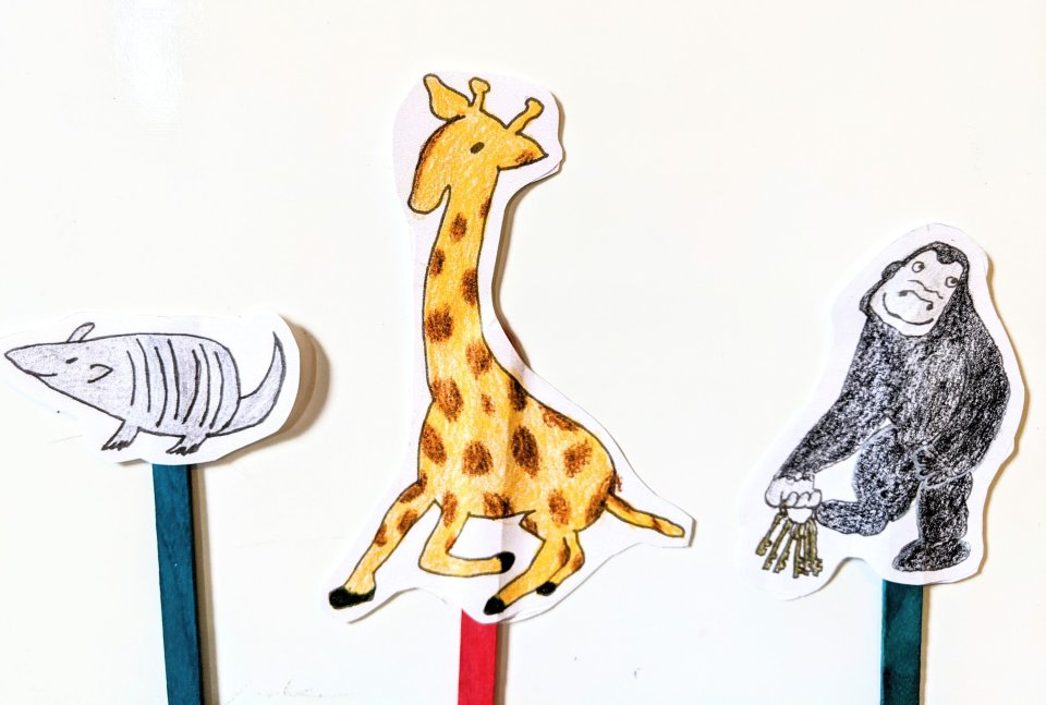 goodnight gorilla stick puppets, armadillo,giraffe,gorilla