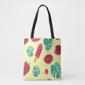 Cool fruity summer tote bag, sunny yellow background with pops of red cherry, popsicle, & watermelon.