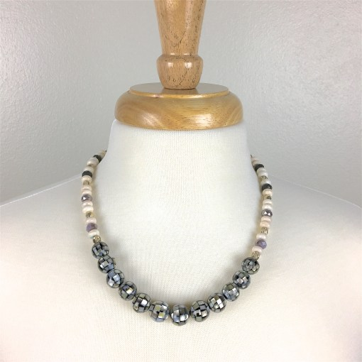 Shell beads, White Howlite, and Faceted Purple glass beaded necklace