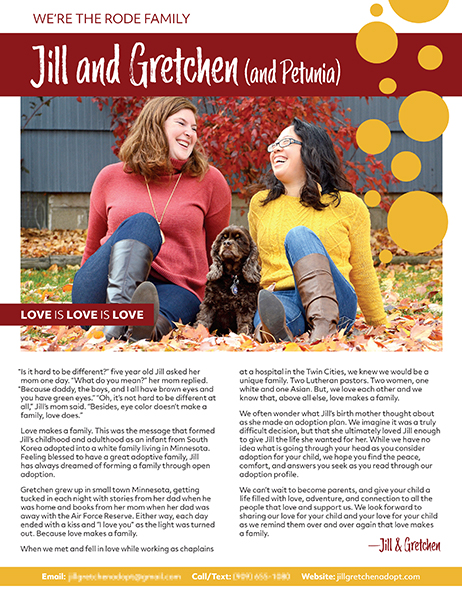 Front page of the profile featuring large image of two women wearing red and yellow followed by two columns of text.