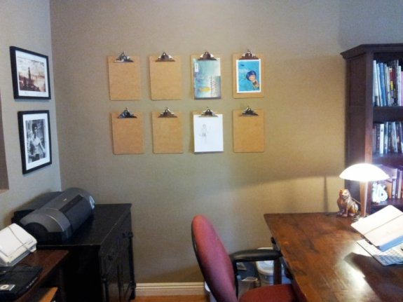 My work-in-progress office with new clipboard installation.
