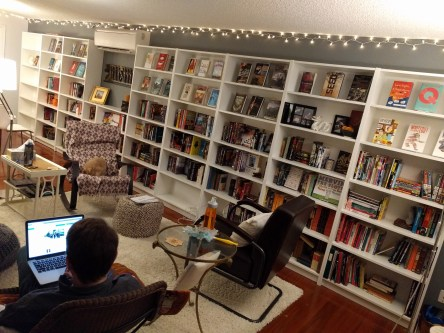 We got a heating system installed that required us *ahem* to get more bookshelves.