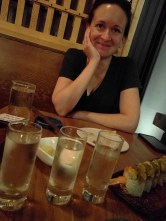 Birthday sushi at Bamboo with Tina. This is after two flights of sake. :-D