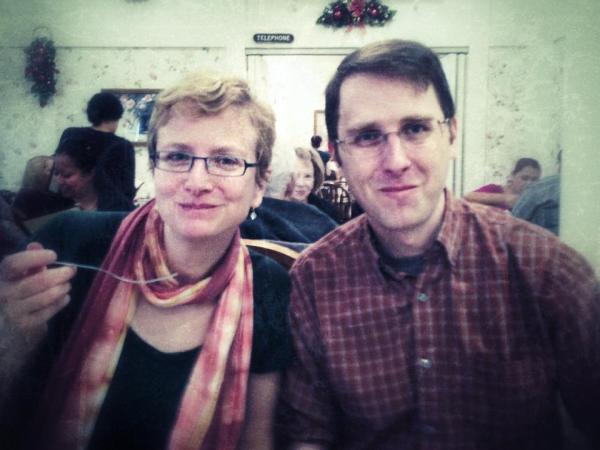 Photo of Jenn and Chris eating at More Than Waffles.