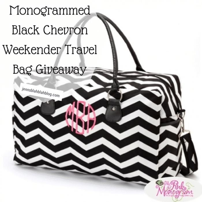 Monogrammed Black Chevron Weekender Travel Bag Giveaway