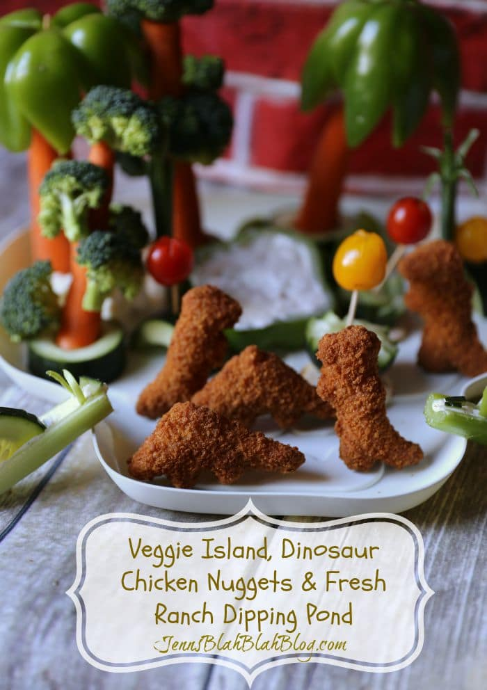 Veggie Island, Dinosaur Chicken Nuggets & Fresh Ranch Dipping Pond veggie fun