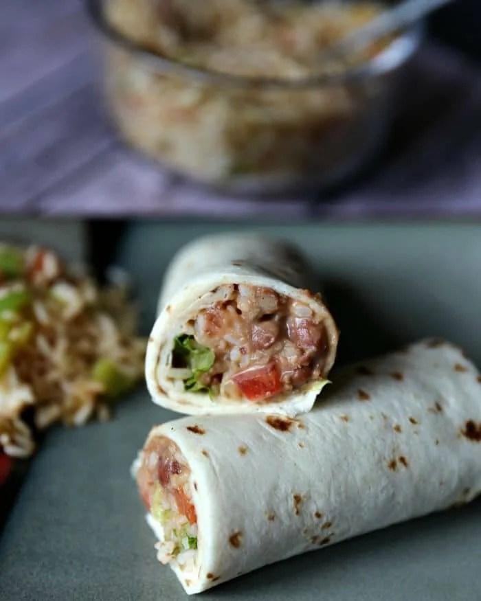 easy 7 layer burritos with spanish rice