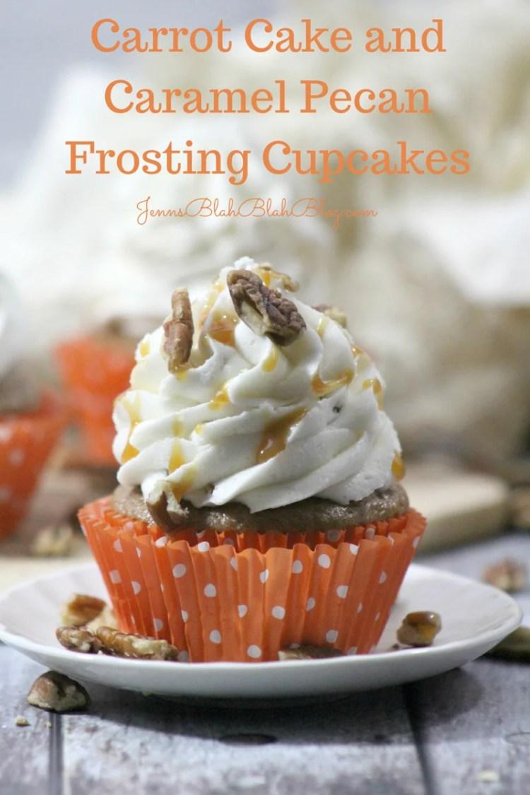 Carrot Cake and Caramel Pecan Frosting Cupcakes