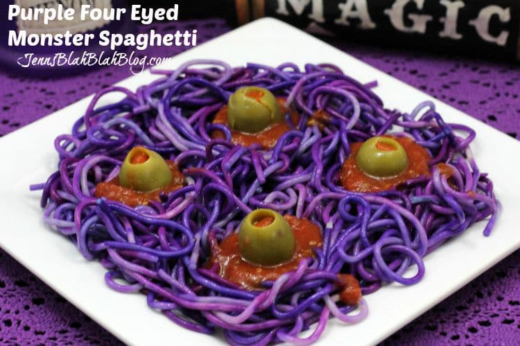 Purple Four Eyed Monster Spaghetti Recipe for Halloween