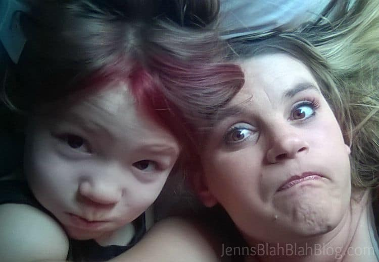 mom and daughter making funny face